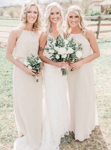 A-Line Jewel Floor Length  Ivory Chiffon Bridesmaid Dress