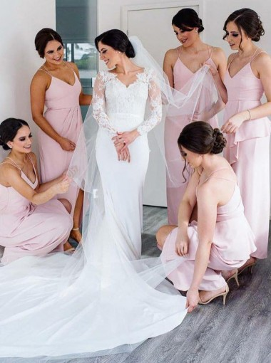 A-Line V-Neck Ankle Length Pink Satin Bridesmaid Dress with Split