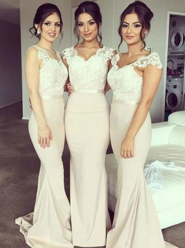 Mermaid Scoop Long Light Champagne Satin Bridesmaid Dress with Lace