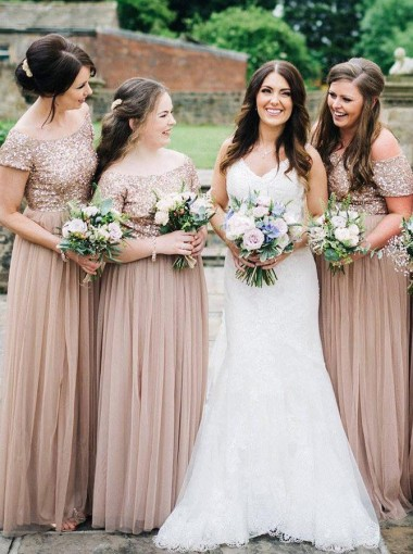A-Line Off-the-Shoulder Blush Tulle Long Bridesmaid Dress with Sequins