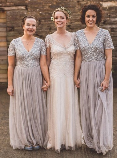 A-Line V-Neck Short Sleeves Grey Tulle Bridesmaid Dress with Sequins
