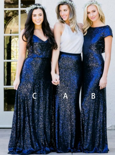 Two Piece Round Neck Navy Blue Sequined Long Bridesmaid Dress