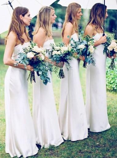 Sheath Spaghetti Straps Floor Length White Satin Bridesmaid Dress