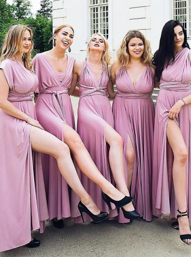 A-Line V-Neck Ankle Length Convertible Style Purple Satin Bridesmaid Dress