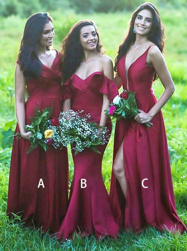 A-Line V-Neck Dark Red Satin Long Bridesmaid Dress with Pleats