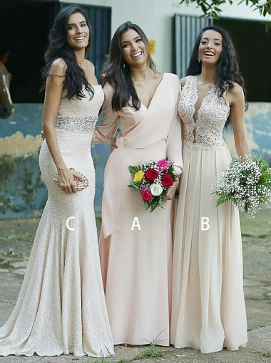 A-Line V-Neck Pearl Pink Chiffon Long Bridesmaid Dress with Sleeves