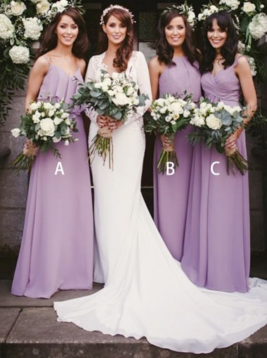A-Line V-Neck Floor Length Purple Chiffon Bridesmaid Dress with Ruffles