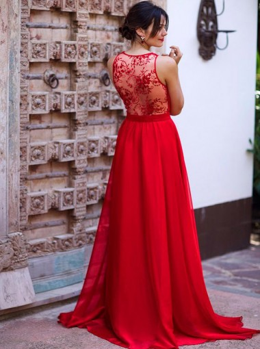 A-Line Deep V-Neck Long Red Chiffon Bridesmaid Dress with Lace