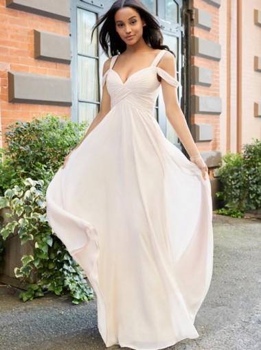 A-Line Cold Shoulder Floor Length Pearl Pink Chiffon Bridesmaid Dress