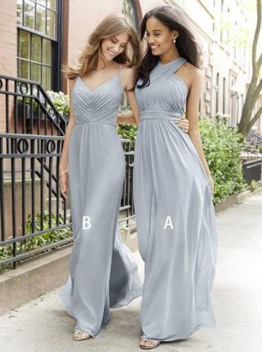 A-Line Cross Neck Floor Length Pleated Grey Chiffon Bridesmaid Dress