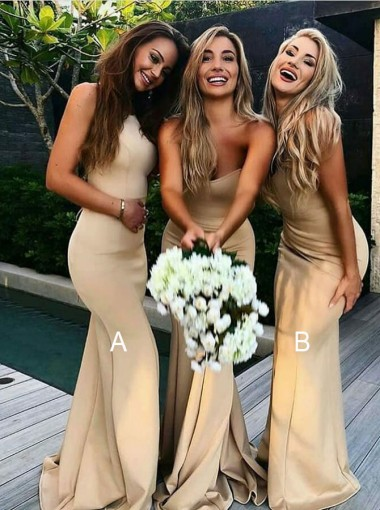 Mermaid Round Neck Sweep Train Gold Satin Bridesmaid Dress