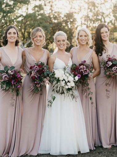 Sheath V-Neck Floor Length Sleeveless Blush Satin Bridesmaid Dress