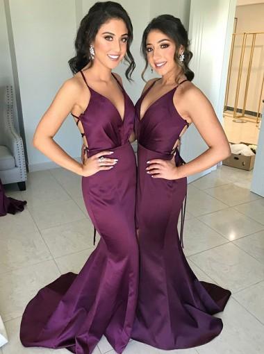 Mermaid V-Neck Sweep Train Grape Satin Bridesmaid Dress
