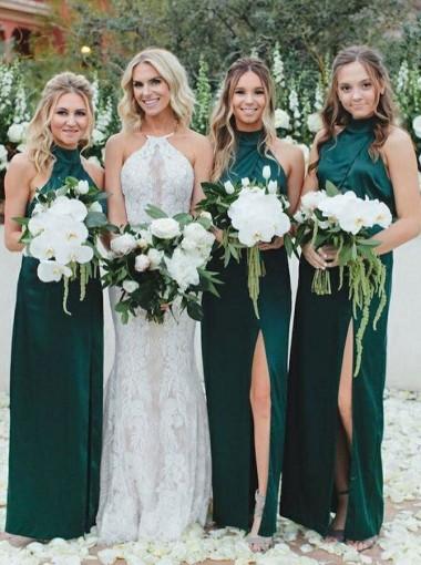 Sheath High Neck Dark Green Satin Bridesmaid Dress with Split