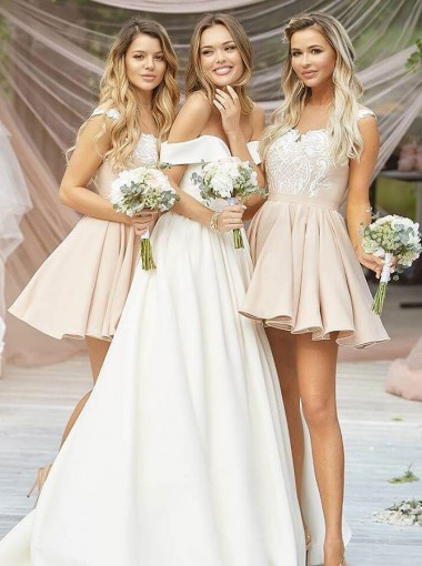 A-Line Round Neck Pleated Champagne Satin Bridesmaid Dress with Appliques