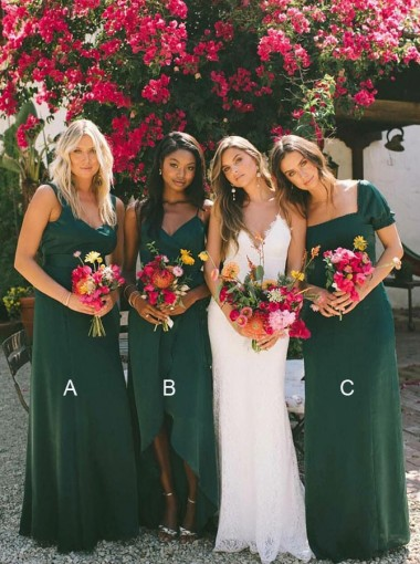 A-Line Scoop Floor Length Dark Green Chiffon Bridesmaid Dresses