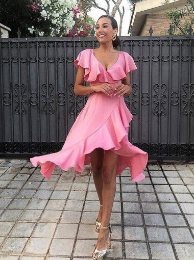 A-Line Scoop High Low Pink Satin Bridesmaid Dress with Ruffles