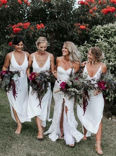 Sheath Scoop Ankle Length White Chiffon Bridesmaid Dress with Split