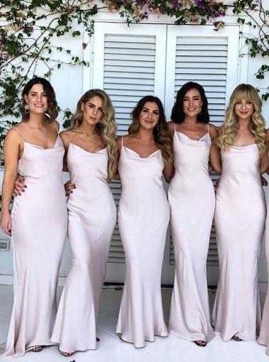 Sheath Spaghetti Straps Floor Length Light Pink Satin Bridesmaid Dress