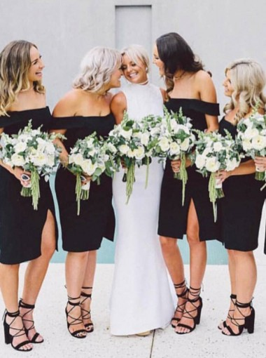 Sheath Off-the-Shoulder Knee Length Black Bridesmaid Dress with Split