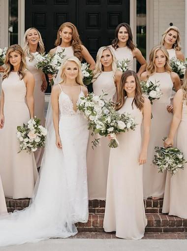 Sheath Round Neck Sleeveless Light Champagne Chiffon Long Bridesmaid Dress