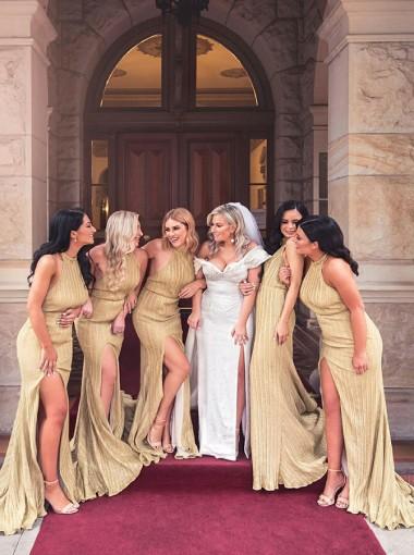 Sheath Halter Backless Long Gold Bridesmaid Dress with Split