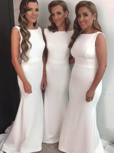 Sheath Round Neck Sleeveless White Satin Bridesmaid Dress