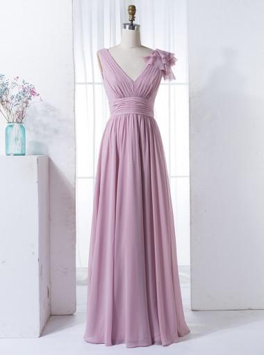 A-Line V-Neck Floor-Length Lilac Chiffon Bridesmaid Dress with Ruffles