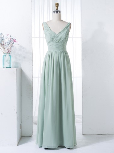A-Line V-Neck Floor-Length Sage Chiffon Bridesmaid Dress Ruched