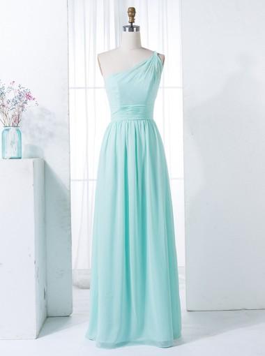 A-Line One Shoulder Floor-Length Mint Green Chiffon Bridesmaid Dress
