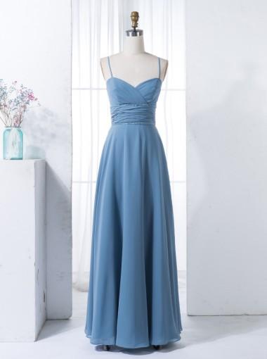 A-Line Spaghetti Straps Blue Chiffon Bridesmaid Dress with Beading