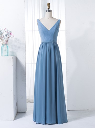 A-Line V-Neck Floor-Length Blue Chiffon Bridesmaid Dress with Lace