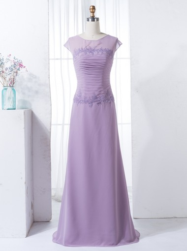 Sheath Bateau Cap Sleeves Lilac Chiffon Bridesmaid Dress with Appliques