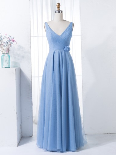 A-Line V-Neck Floor-Length Ruched Blue Tulle Bridesmaid Dress with Flowers