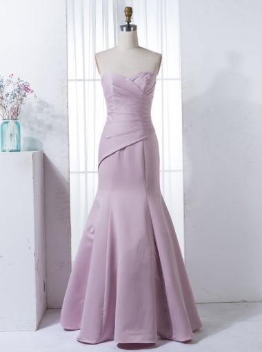 Mermaid Sweetheart Floor-Length Lilac Elastic Satin Bridesmaid Dress