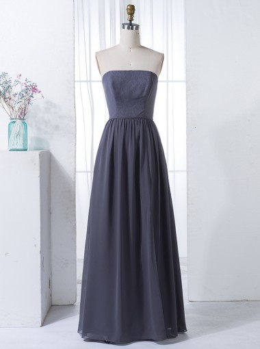 A-Line Strapless Floor-Length Grey Chiffon Bridesmaid Dress with Lace