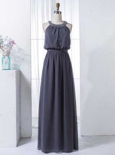 A-Line Round Neck Keyhole Back Grey Chiffon Beaded Bridesmaid Dress