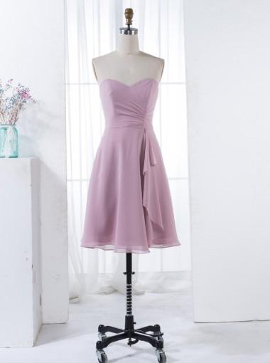 A-Line Sweetheart Short Blush Chiffon Bridesmaid Dress with Ruffles