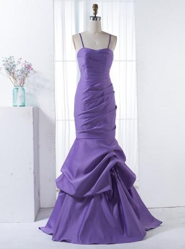 Mermaid Spaghetti Straps Sweep Train Purple Ruched Bridesmaid Dress