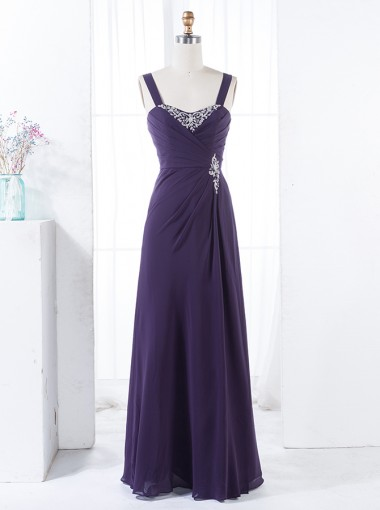 A-Line Straps Floor-Length Grape Chiffon Bridesmaid Dress with Appliques