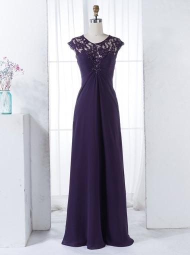 A-Line Round Neck Grape Chiffon Bridesmaid Dress with Beading Lace