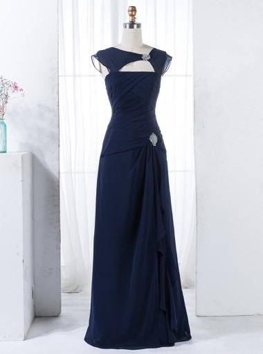 Sheath Round Neck Navy Blue Chiffon Bridesmaid Dress with Beading