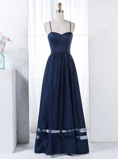 A-Line Spaghetti Straps Floor-Length Navy Blue Satin Bridesmaid Dress