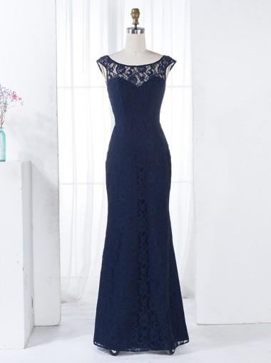 Sheath Bateau Floor-Length Backless Navy Blue Lace Bridesmaid Dress