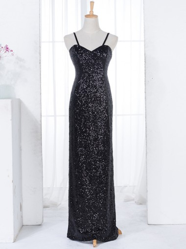 Sheath Spaghetti Straps Floor-Length Black Sequined Bridesmaid Dress