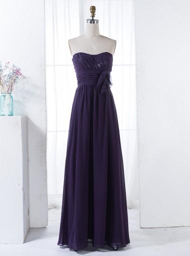 A-Line Strapless Floor-Length Grape Chiffon Bridesmaid Dress with Ruffles