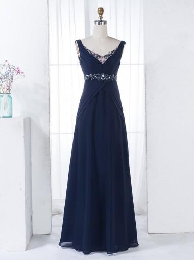 A-Line Scoop V-Back Floor-Length Navy Blue Chiffon Beaded Bridesmaid Dress