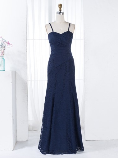 Sheath Spaghetti Straps Floor-Length Ruched Navy Blue Lace Bridesmaid Dress