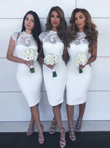 Sheath Jewel Knee Length White Satin Bridesmaid Dress with Lace