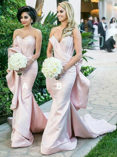 Mermaid Sweetheart Long Pink Satin Bridesmaid Dress with Ruffles